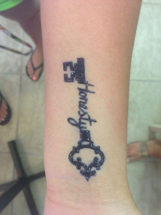 Henna Tattoo Inside Arm: Honesty Written Inside Of A Key Henna Tattoo On The Wrist
