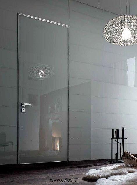 Porta blindata da interno a filo muro con rivestimento in - Porte da interno con vetro ...