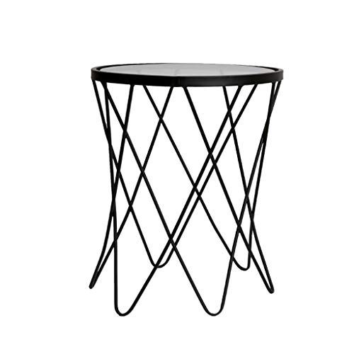 Simple Side Table Wrought Iron Coffee Table Transparent Tempered