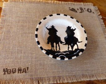 Burlap Placemat, Country Western, Southwestern, Cowgirl Placemat, Southwest Kitchen, Ranch Decor, Western Decor, Cabin Decor, Stenciled Chic