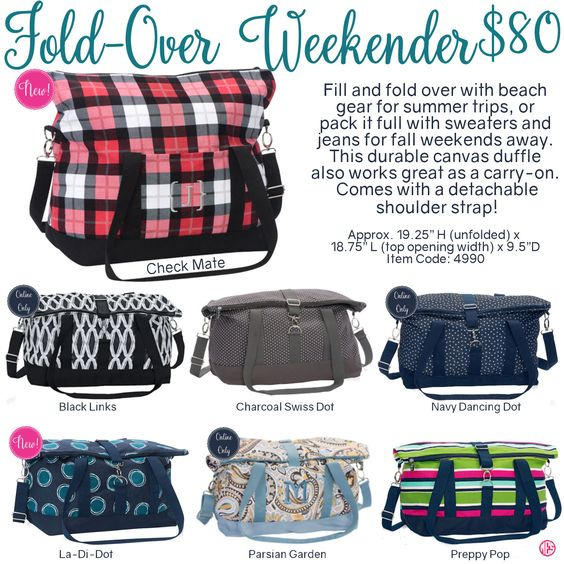 Fold-Over Weekender by Thirty-One. Fall/Winter 2016. Click to order. Join my VIP Facebook Page at https://www.facebook.com/groups/1603655576518592/