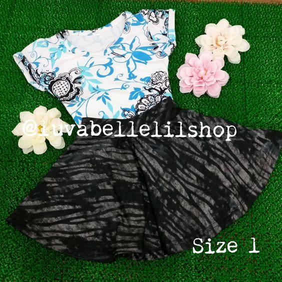 Blue and Black Skater Skirt for Kids