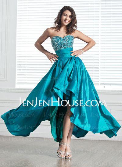 A-Line/Princess Namorada Assimétrico Tafetá Vestidos Homecoming com Preguear  Beading (022004619)