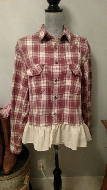 upcycled flannel shirt with ruffled hem