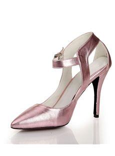 レトロなピンクのポイント足中空スティレットヒールアンクルストラップパンプス