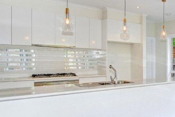 Kitchen Pendant Lights And Mirrored Tile Splashback Home Sweet Home Pinte