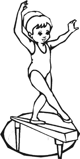Gymnastics Colouring Pages Happy