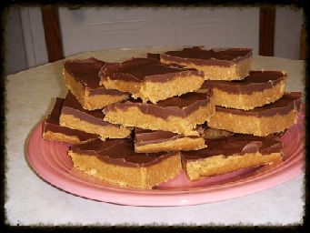 Peanut Butter Bars. Easy to make. Chocolate, peanut butter and graham crackers. This is a good recipe for children to make.