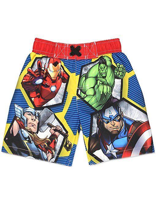 Avengers Superhero Boys Swim Trunks Swimwear Toddler Little Kid