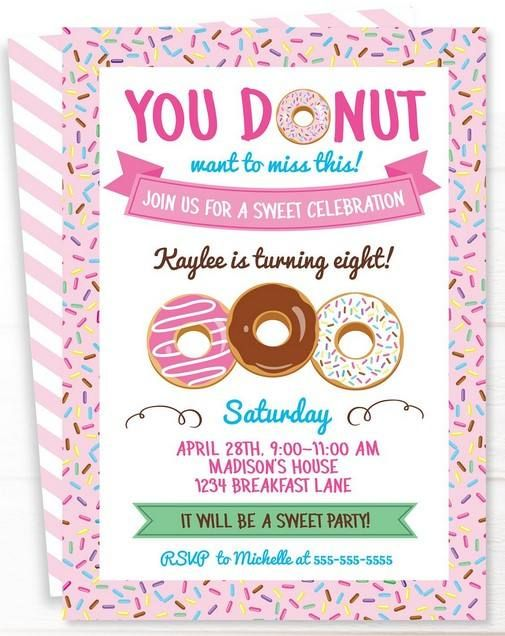 picture about Printable Party Invite named Free of charge Printable Donuts Invitation Little one Scarlett Cost-free