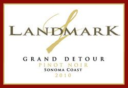 Landmark Grand Detour Pinot Noir is brimming with dark cherries, strawberries, dark plums, chocolate and notes of brown cooking spices.