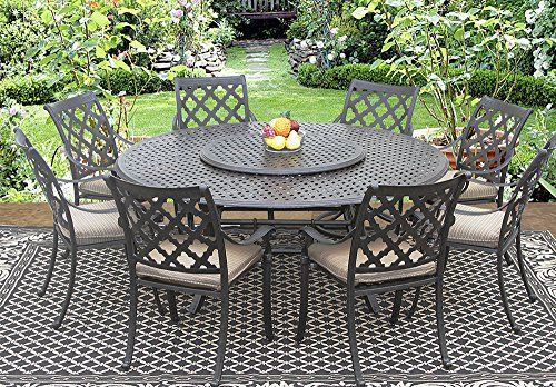 Camino Real Outdoor Patio 9pc Set 8dining Chairs 71 Inch Round Table 35 Lazy Susan Beautiful Outdoor Furniture Cast Aluminum Patio Furniture Patio Dining Set Cast aluminum patio dining set