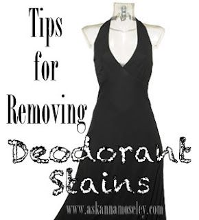 Fresh deodorant marks use panty hose and rub until white marks are gone.  If the deodorant stain has already set then what you need is a little salt.