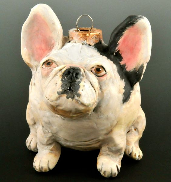 French Bulldog Ornament, Vintage Style. $50.00, via Etsy.