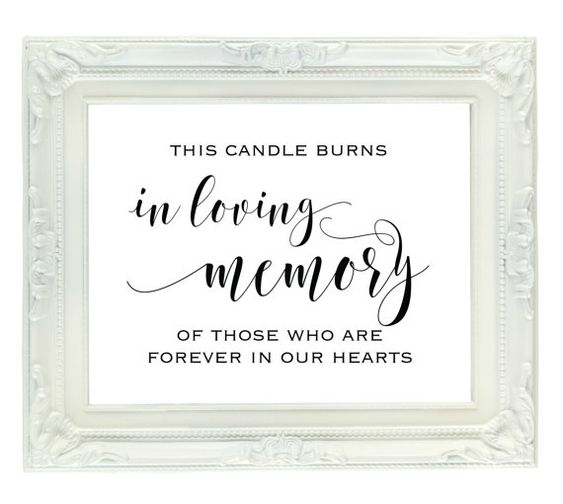 This candle burns in loving memory of those who are forever in our hearts printable wedding for In loving memory free printable