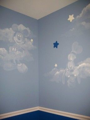 Disney characters in clouds! I want this in my master bedroom-I already have the blue walls, Mickey and Minnie lamps... :)