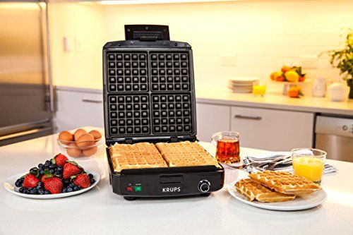 Amazon.com: KRUPS 8000035972 GQ502D Adjustable Temperature Belgian Waffle Maker with Removable Plates, 4-Slice, Silver and Black: Kitchen & Dining