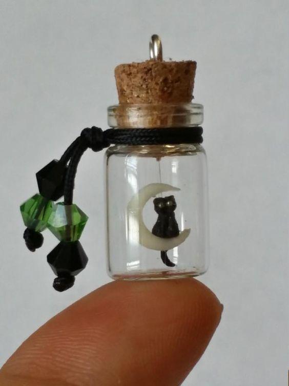 miniature bottle glass vial charm necklace от OoakMarianaCreations