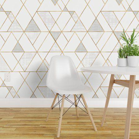 Peel And Stick Removable Wallpaper Mod Triangles White Gold Geometric Walmart Com Geometric Removable Wallpaper Wallpaper Accent Wall Wallpaper Panels