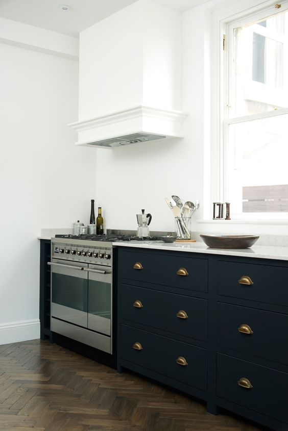 The beautiful bath shaker kitchen by devol painted in our for Dark blue kitchen units
