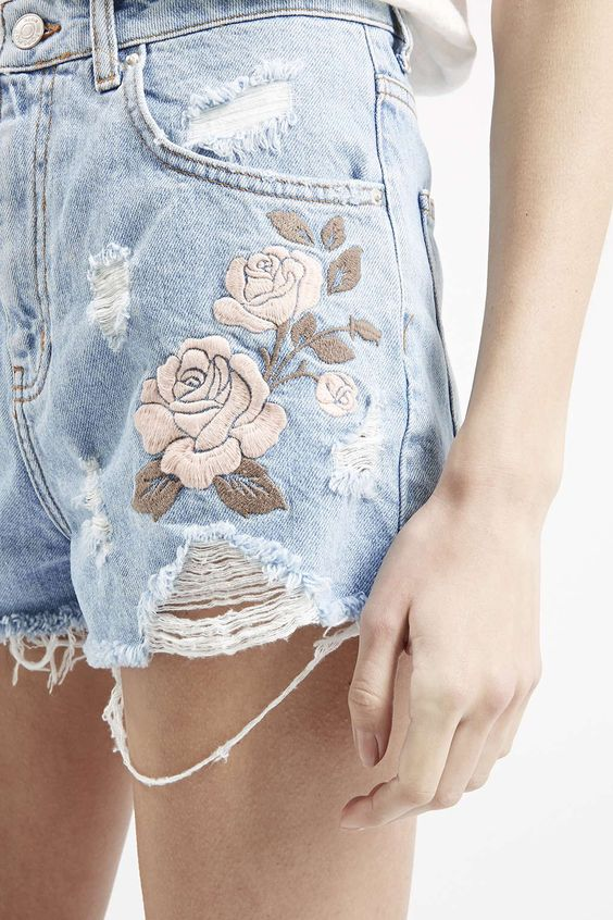 Photo 5 of MOTO Embroidered Mom Shorts