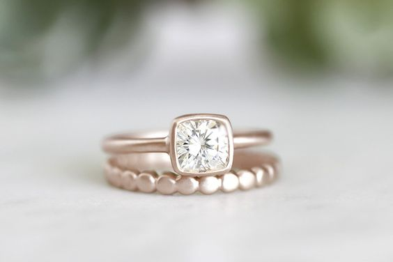 14k cushion moissanite bezel ring