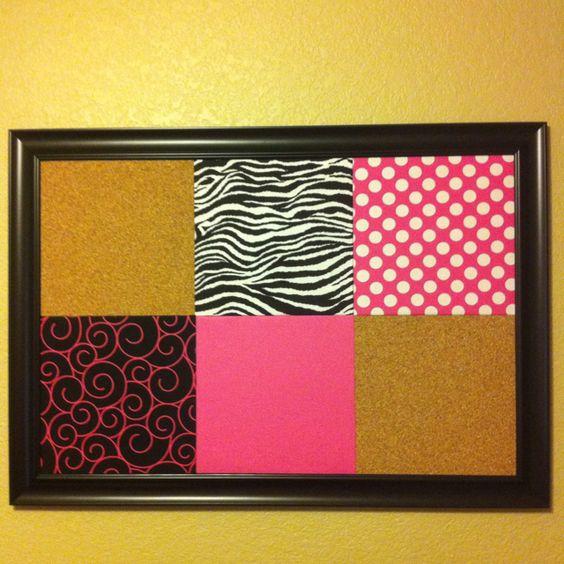 Diy Calendar Bulletin Board : Diy bulletin board cork tiles covered with fabric in a