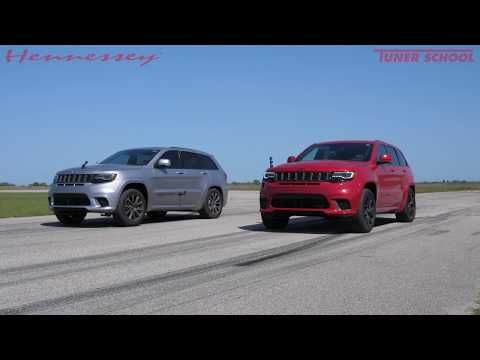 Hpe850 Trackhawk Vs Stock Trackhawk Street Race Youtube Racing Jeep Srt