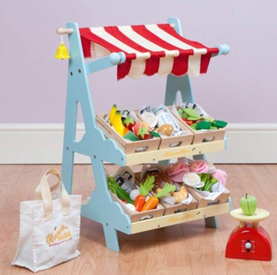 Puesto para el supermercado de juguete de madera - Muebles de juguete en madera ...