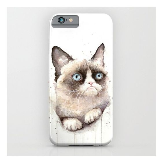 Grumpy Watercolor Cat iPhone 6s Case ($35) ❤ liked on Polyvore featuring accessories, tech accessories, phone cases and iphone & ipod cases
