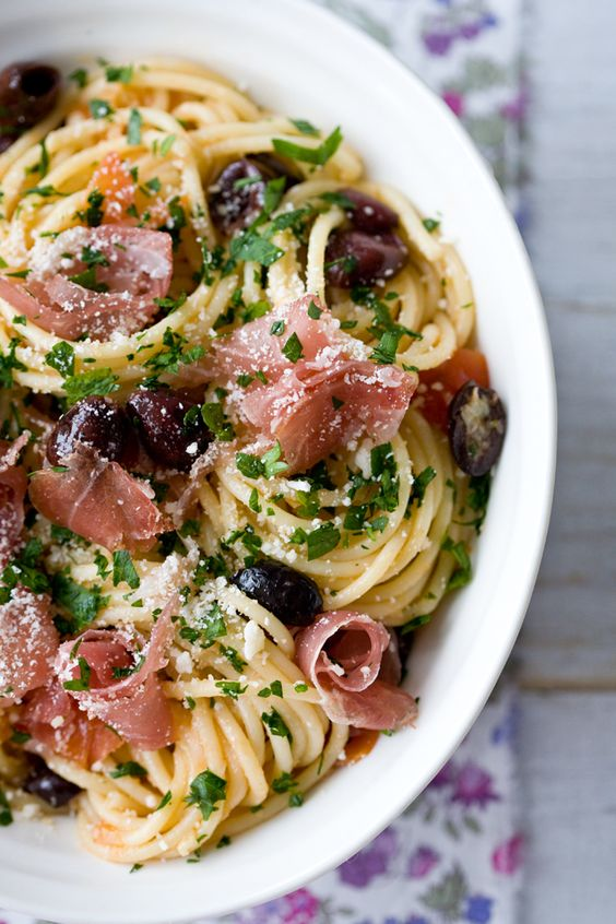 Recipe for Prosciutto Tomato and Olive Spaghetti - The reason I gravitated to the dish like a groupie to a rock star, was because it sent me back to a trip through Italy.