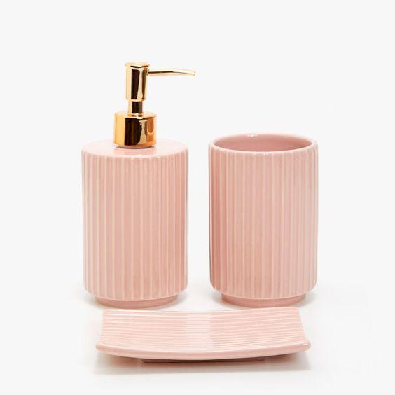 Striped Ceramic Bathroom Set, Peach Bathroom Accessories