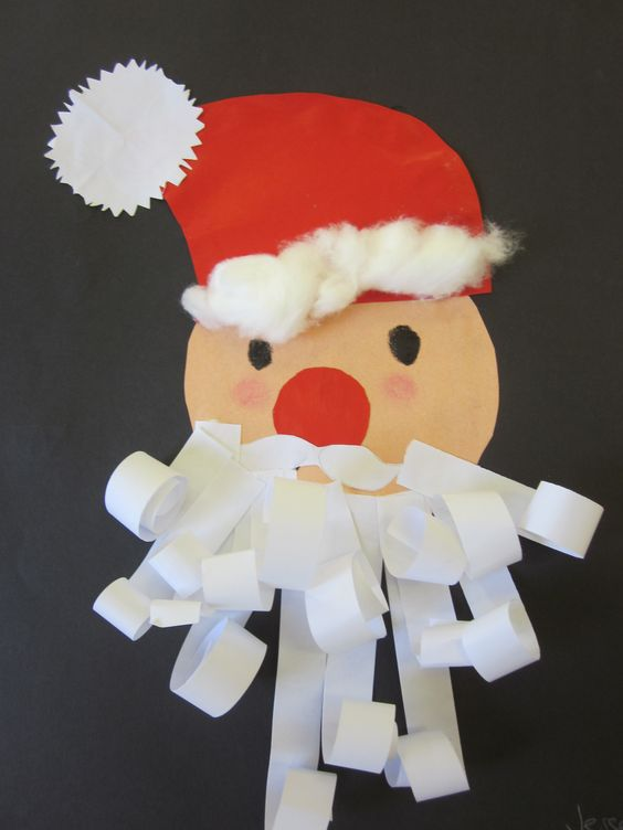 Santa with curly paper beard. Year 1