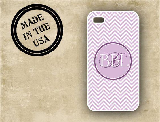 Iphone 5 case, Iphone 4 case - Lavender chevron with purple monogram - chevron Iphone cover (9832). $16.99, via Etsy.