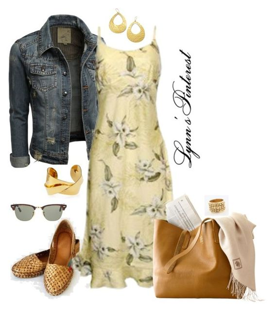 """""""Dress & Denim Jacket - #2905"""" by lynnspinterest ❤ liked on Polyvore featuring Devon Leigh, Ippolita, Ray-Ban and 2905"""