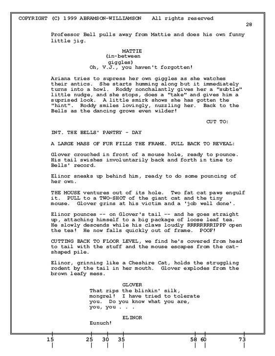 How to Format an Animation Screenplay - Sample Page screenplay - screenplay template