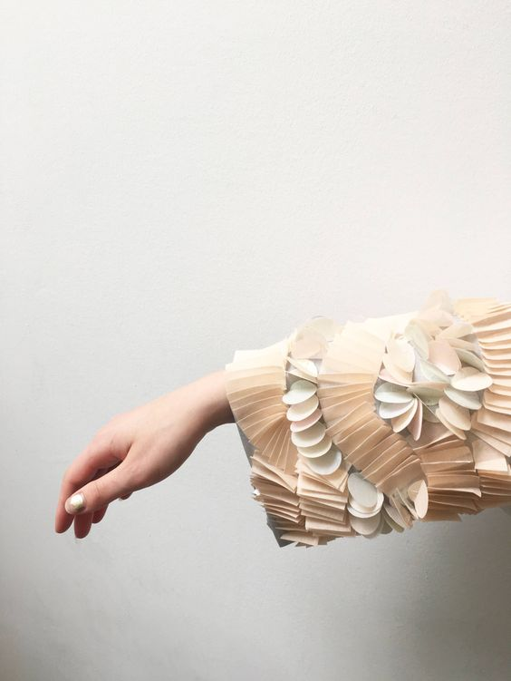 Fabric Manipulation - pleated sleeve detail exploring repeating patterns in organic form; sewing; textiles; embellishment // Penny Hewitt