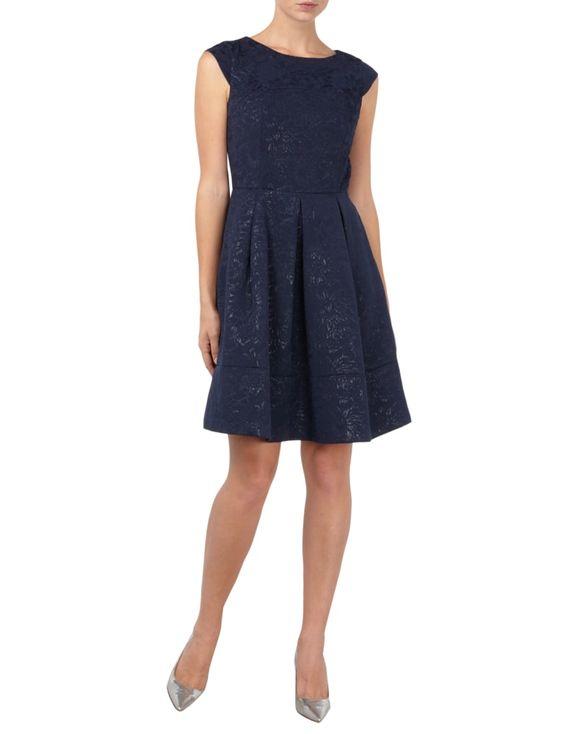 JAKES-COLLECTION Kleid mit eingearbeitetem Effektgarn in Blau / Türkis online…