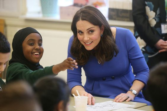 Kate Middleton Photos - Catherine, Duchess of Cambridge meets children, teachers and other stakeholders as she launches a mental health programme for schools, the latest initiative from the Heads Together campaign, during her visit to Roe Green Junior School on January 23, 2018 in London, England. - The Duchess of Cambridge Launch's Mental Health Program for Schools - GREAT WITH CHILDREN ALL THE TIME!