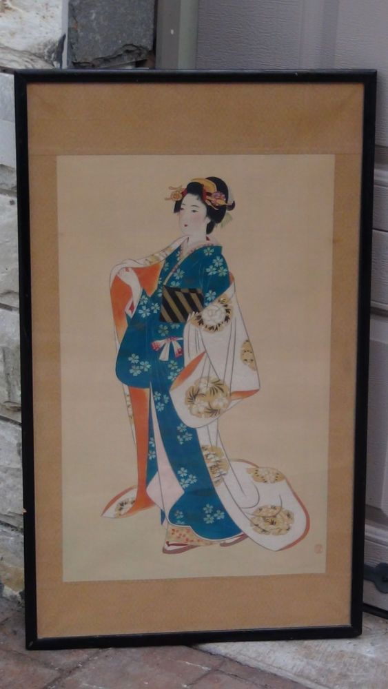 Antique Japanese Watercolor On Silk Scroll Painting Of Geisha
