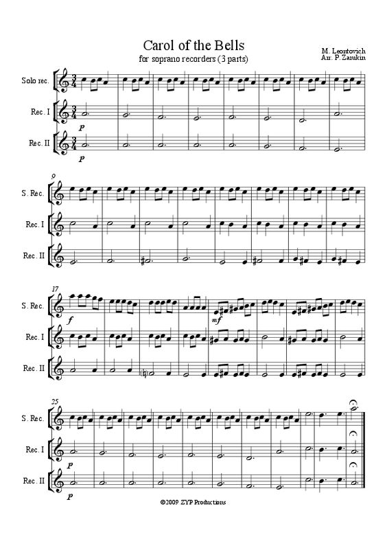 Carol of the Bells (3 part) Soprano Recorder piece but change for hand chimes and do as a class