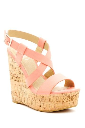Carrini Crisscross Strap Wedge Sandal on HauteLook