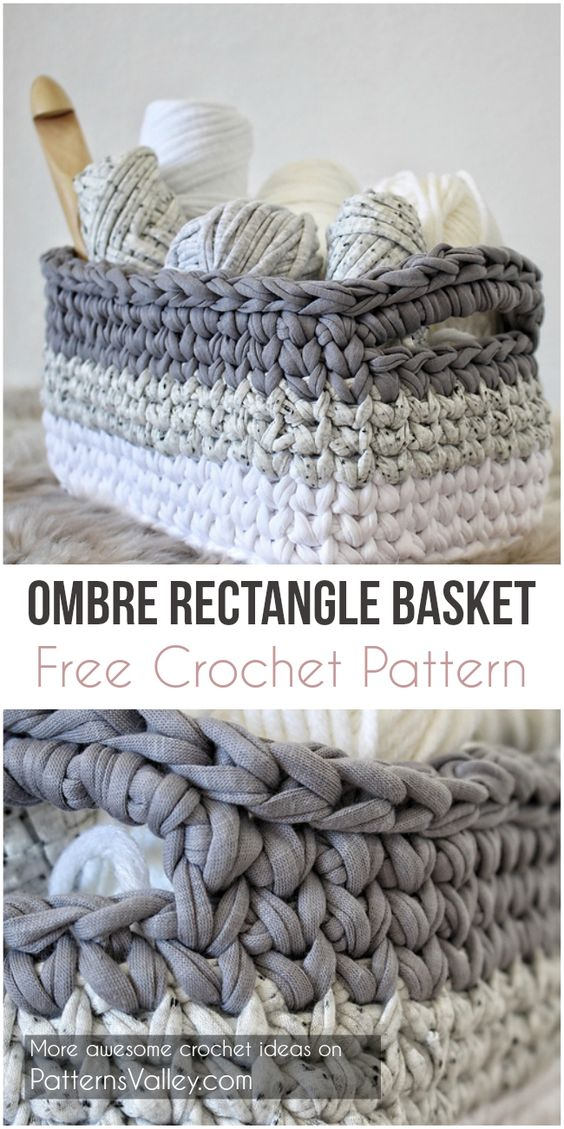Ombre Rectangle Basket Free Crochet Pattern #crochet #baskets #crochetbasket #yarn #stitch #freecrochetpatterns