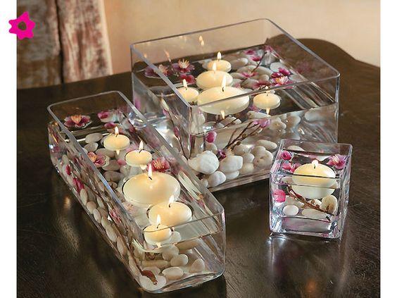 Cristaler a geom trica con velas flotantes para el centro - Centros con velas ...