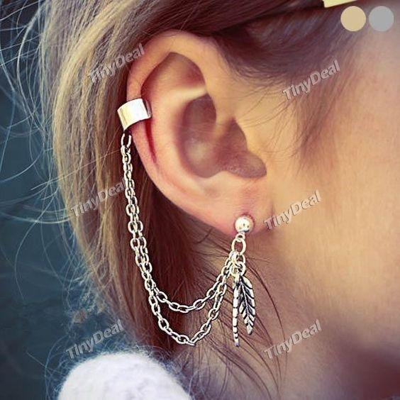 1pcs Punk Style Leaves Tassel Earring Ear Clip Fashion Earring for Lady DJA-375884