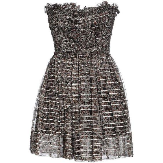 Isabel Marant Short Dress (€580) ❤ liked on Polyvore featuring dresses, grey, short grey dress, gray dress, grey cocktail dress, grey dress and sleeveless dress