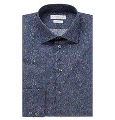 Richard JamesBlue Slim-Fit Digital Donegal Cotton-Poplin Shirt