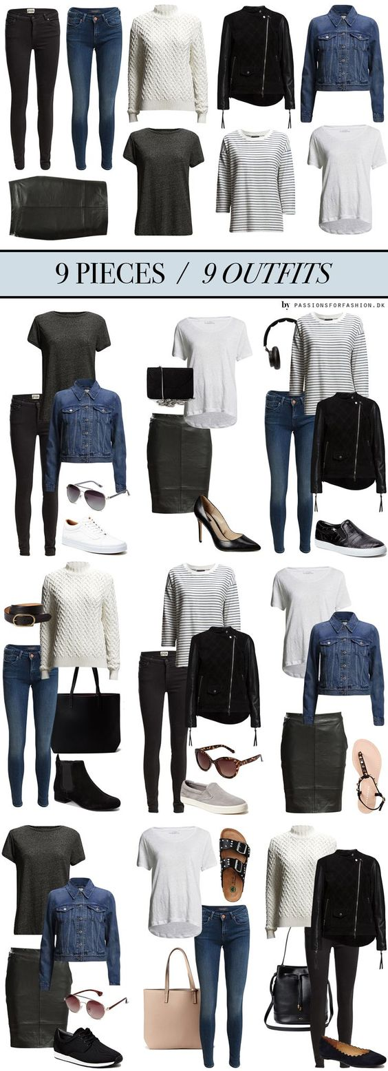 9 pieces 9 outfits. Love this simple capsule wardrobe based around just 9 pieces. Perfect for a city break or busy week schedule. #Mylifemystyle