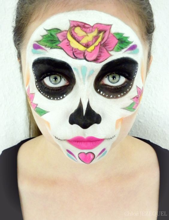 Tete de mort mexicaine maquillage recherche google maquillage et vernis pinterest - Maquillage mexicain facile ...