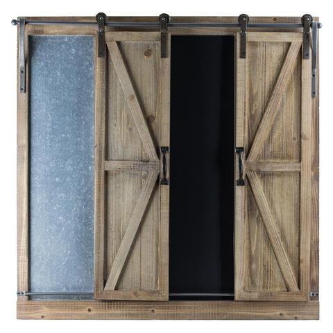 Wood Metal Chalkboard Message Board With Barn Doors Barn Door